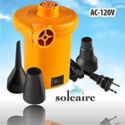 Soleaire Sa-101 120v Electric Air Pump Inflator Deflator Powerful Quick Fill Inflatable Power 120 Volt Air Pump Boat Inflatables Pump Air Mattress Ac Air Pump Water Toys
