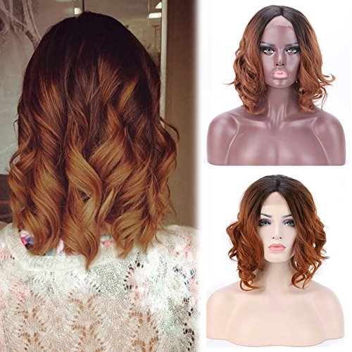 Wavy Curly Bob Lace Front Wigs Ombre 2 Tone Middle Part Short Synthetic Hair for Black Women 14