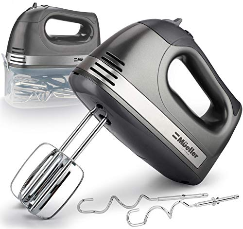 Mueller Electric Hand Mixer, 5 Speed 250W Turbo with Snap-On Storage Case and 4 Stainless Steel Accessories for Easy…