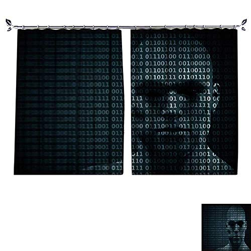 DESPKON Facial Blend Fabric high Density Man face Blended with Binary Code Digits Concept of Hacker,Coding,Programming Shading for Bedroom W96 x L72