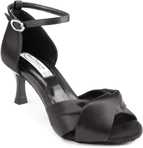 Farbe: Schwarz Glitzer Absatz: 5 cm Flare PortDance Damen Tanzschuhe Salsa Tango Sandalette PD811 Pro klein - Made in Portugal