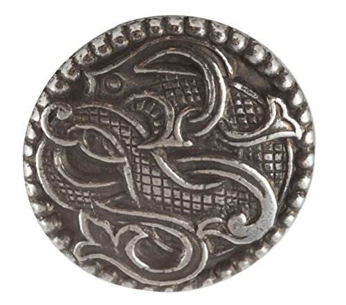 Solid Pewter Button - Viking Drage Entwined Dragon Button - Solid Pewter. (7/8