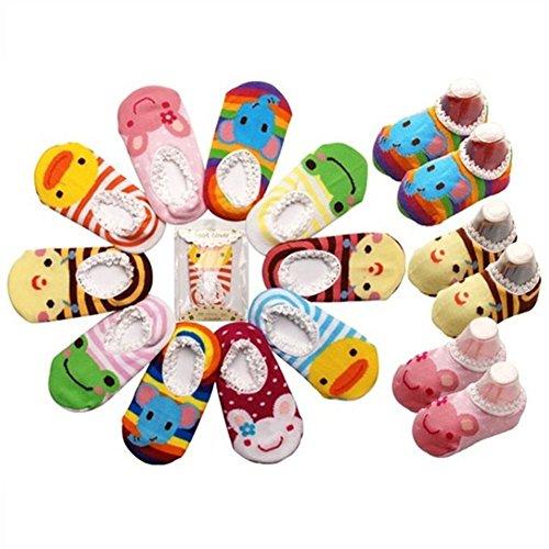 Raylarnia 5 Pairs Cute Baby Toddler Stripes Anti Slip Skid Socks Crew Boat Sock (Girl)