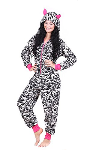 Totally Pink Women's Warm and Cozy Plush Adult Onesies for Women One-Piece Novelty Pajamas (Zebra, Large)