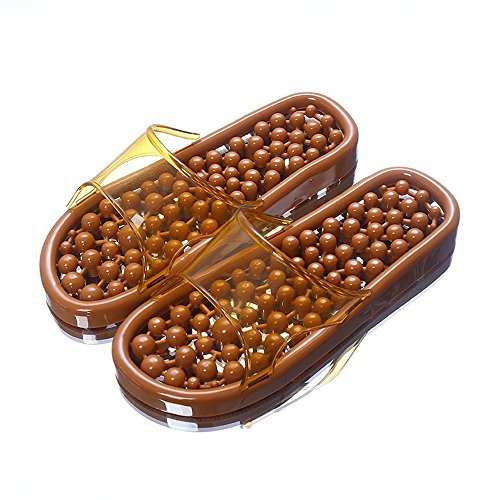 Home bathroom slippers foot massage slippers acupress foot shoes shoes couple slippers indoor cool slippers men and women summer Brown M72UGcn