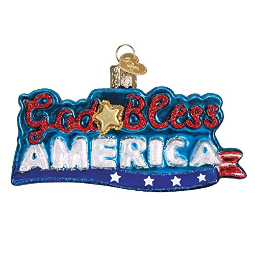 Old World Christmas Glass Blown Ornament with S-Hook and Gift Box, Patriotic Collection (God Bless America)