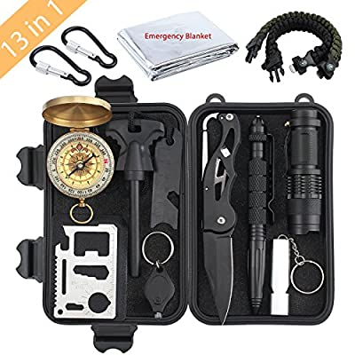Kinstech Emergency Survival Kit 13 in 1 Mini Survival Gear Kit Outdoor Survival Tool with Thermal Blanket Carabiner Bracelet Fire Starter More for Adventure Outdoors Sports Traveling Hiking by Kinstech