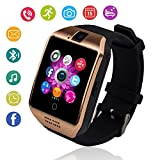 Bluetooth Smart Watch Touch Screen Smartwatch with Camera and SIM Card TF/SD Card Slot Pedometer Fitness Tracker for Android Phones Samsung Huawei, Smart Watches for Kids Womens Men (Gold)