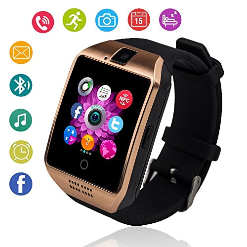Bluetooth Smart Watch Touch Screen Smartwatch with Camera and SIM Card TF/SD Card Slot Pedometer Fitness Tracker for Android Phones Samsung Huawei, Smart Watches for Kids Womens Men (Gold) by KXCD-TECH