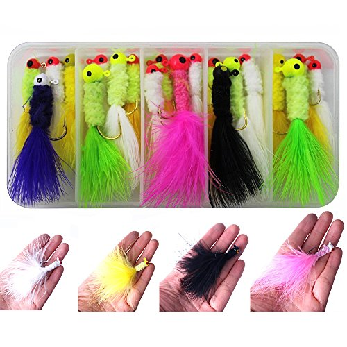 20pcs/box White/yellow/black/pink Color Fishing Marabou Jigs Crappie Jigs Lures Kit Fishing Lead Head Hook with Feather Marabou Chenille for Bass Pike Walleye Ice Fly Fishing Size: (Marabou Crappie Jig)