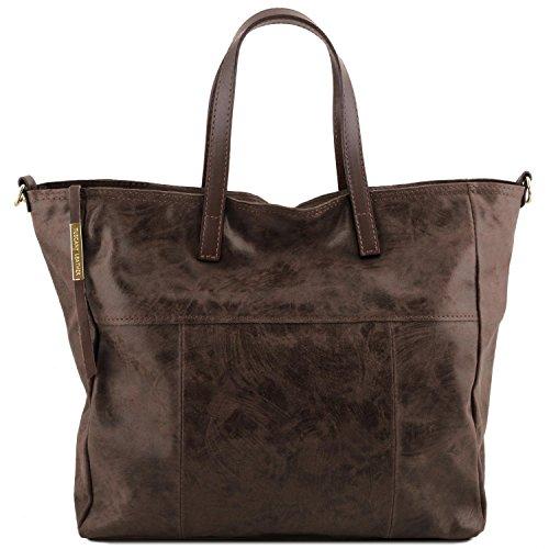 Tuscany Leather Annie - Borsa shopping TL SMART in pelle effetto invecchiato - TL141552 (Verde) Testa Di Moro