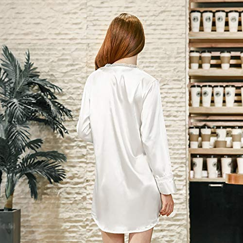 color Size Sexy De White Pijamas Andre Seda Domicilio Camisa White Servicio Xl Sq802 Femenino Lady Sentido A Verano Home Camisón Spinning Uw1wxAC