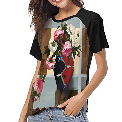 (Girls Short Sleeve T-Shirts,Vase Flower Oil Painting Style Multicolor (3) S-XXL Custom T-Shirt Fashion Style)