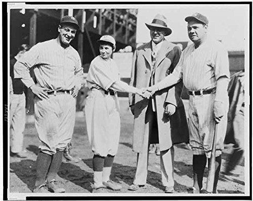 Infinite Photographs Photo: Pitcher Jackie Mitchell, Babe Ruth, Lou Gehrig, Joe Engel, 1931, Baseball, Sports Size: - Lou Photograph Gehrig