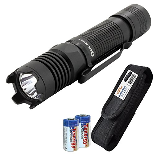 Olight M1X 1000 Lumens Compact Tactical Flashlight with LumenTac Premium Holster and 2x CR123A Batteries
