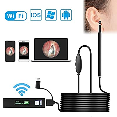 Wireless Otoscope, VTOSEN WiFi USB Ear Endoscope 1.3MP Digital Ear Scope Inspection Camera with 6 Adjustable LEDs for Android and iPhone IOS Smartphone, Samsung, Tablet, Windows & Macbook OS Computer