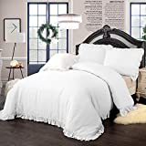 Simple&Opulence 100% Stone Washed Linen Frill Floral Flax Duvet Cover Set (King, White)