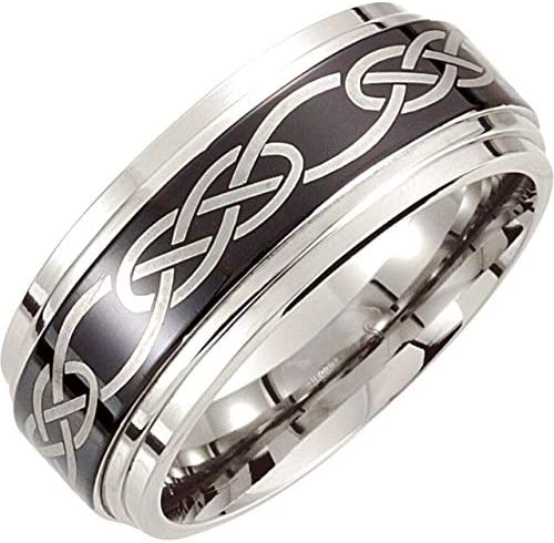 Security Jewelers Black Titanium 8mm Double Ridged Band Size 12.5 Ring Size 12.5