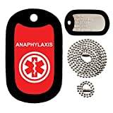 Military Dog Tags - Custom Embossed Dog Tag Set - medical alert ANAPHYLAXIS- Tag-Z