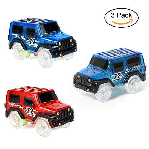DOMIRE 3 Pack Car Track Replacement Toy Car, Glow in The Dark Racing Track Accessories Compatible with Most Tracks