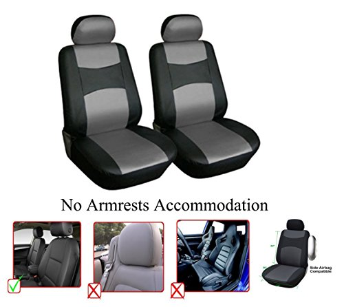 OPT. Brand. Black/Grey Gray Color Vinyl Leather 2 Front Car Seat Covers Compatible with Toyota Corolla Highlander Camry 4Runner Land Cruiser Avalon Yaris Prius C V RAV4 (NOT Fit RAV4 Hybrid)