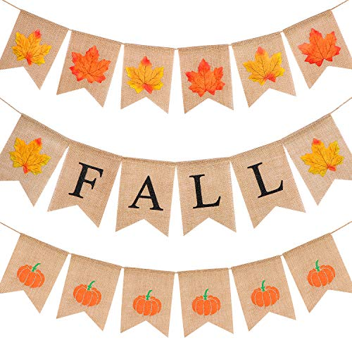 - Tatuo Thanksgiving Day Happy Fall Banner 3 Set of 6.6 Feet Swallowtail Thanksgiving Bunting Burlap Thanksgiving Garland with Full Color or Smell of Autumn