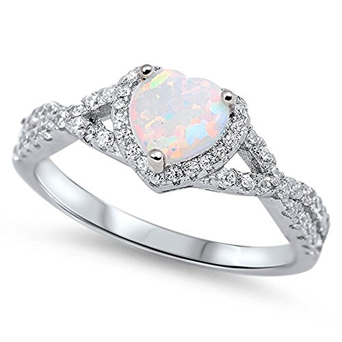 Opal Swirl Ring (Heart Shaped White Simulated Opal Cubic Zirconia Swirl Heart Ring 925 Sterling Silver Size 7)
