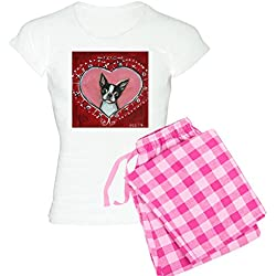 CafePress - Boston Terrier Valentine Xoxo Pajamas - Womens Novelty Cotton Pajama Set, Comfortable PJ Sleepwear
