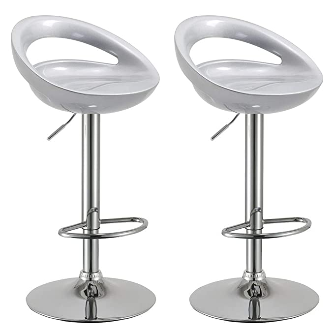 Duhome 2 Pcs Swizzle Gloss Finish Crescent Shape Adjustable Swivel Bar Stools Kitchen Counter Top (Silver) by Duhome Elegant Lifestyle