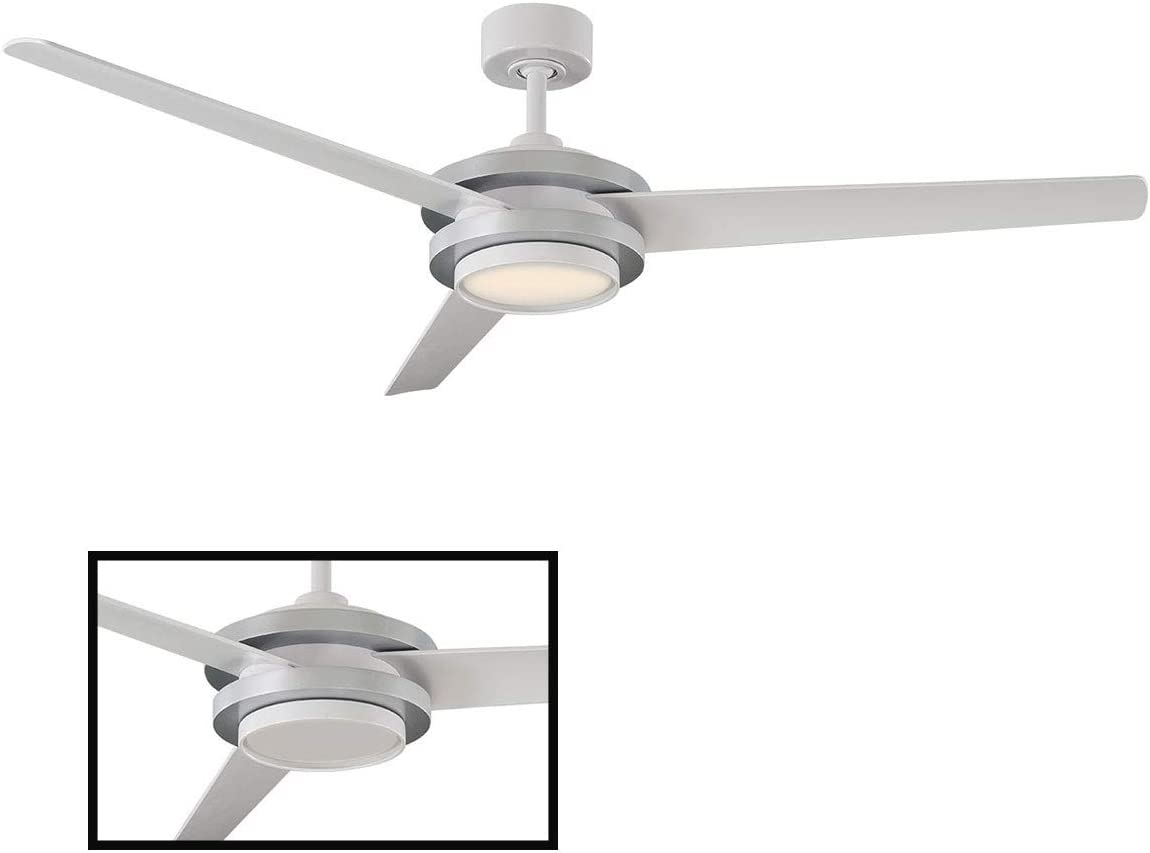 Venus Indoor Outdoor 3-Blade Smart Ceiling Fan 60in Titanium Silver with 2700K LED Light Kit and Wall Control works with iOS Android, Alexa, Google Assistant, Samsung SmartThings, and Ecobee