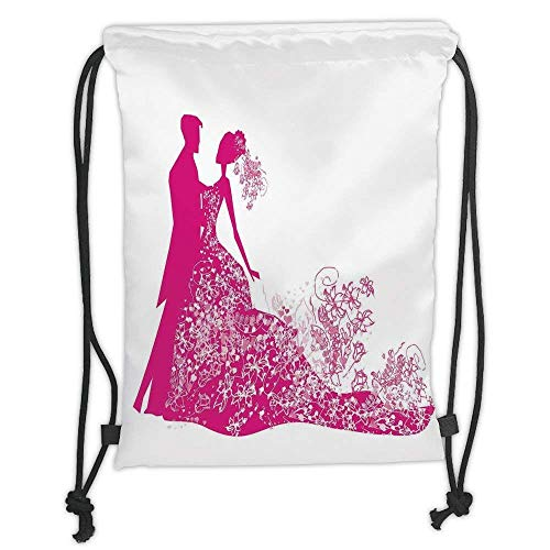 Goloingm Custom Printed Drawstring Backpacks Bags,Wedding Decorations,Dancing Couple Vibrant Color Silhoette Ceremony Floral Wedding Dress,Magenta White,Adjustable String Closure