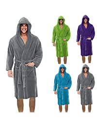 kingfansion Women Men's Winter Plush Lengthened Shawl Bathrobe Home Clothes Long Sleeved Robe Coat