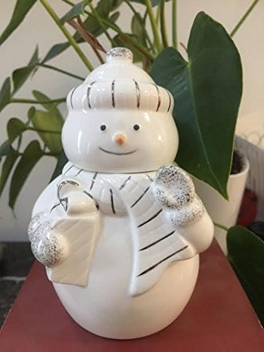 Lenox Snowman Covered Candy Jar White porcelain with platinum accents (Snowman Cookie Jar)