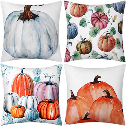 Jetec 4 Pieces Autumn Pumpkin Pillow Cover Sofa Back Throw Cushion Cover for Thanksgiving Day Fall Harvest Home Decoration, 18 by 18 Inches (Color Set 2)]()