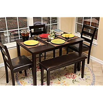 5pc Dining Dinette Table Chairs U0026 Bench Set Espresso Brown 150232b