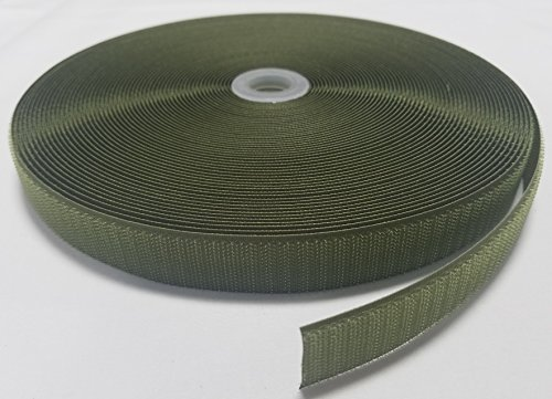 1'' OLIVE (OD) GREEN SEW-ON HOOK and LOOP FASTENER - HOOK SIDE ONLY - 25 YARDS by Ameratex