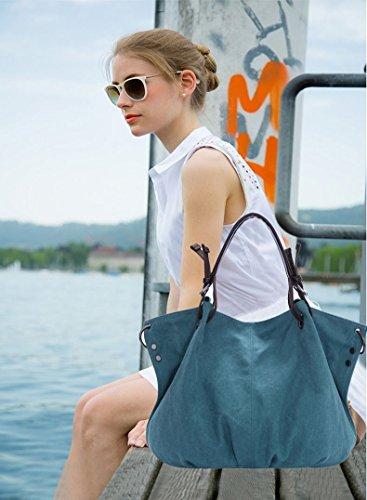 Nicole&Doris neue Retro- Frauen / Damen / weibliche Grosse Umhängetasche Mobile Messenger Tasche Tasche Leinwand Handtasche(Brown) Azul