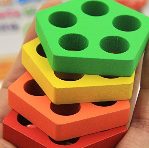 Revanak Wooden Educational Preschool Toddler Toys for 1 2 3 4-5 Year Old Boys Girls Shape Color Recognition Geometric Board Blocks Stack Sort Chunky Puzzles Kids Children Baby NON-TOXIC Toy by by Revanak (Image #4)