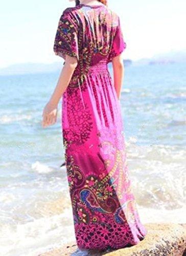 Sottile Spiaggia Collare Fit Bicchierino Flyaway Tacca Boho Coolred Vestito donne manicotto Rosa BqnwIfvq