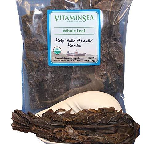 VitaminSea Organic Kombu Sugar Kelp - Whole Leaf 4 oz Saccharina Maine Coast Seaweed - USDA & Vegan Certified - Kosher - Great For Keto or Paleo Diets - Wild Atlantic Hand Harvested - Sun Dried (KW4) (Vegetable Wakame Sea)