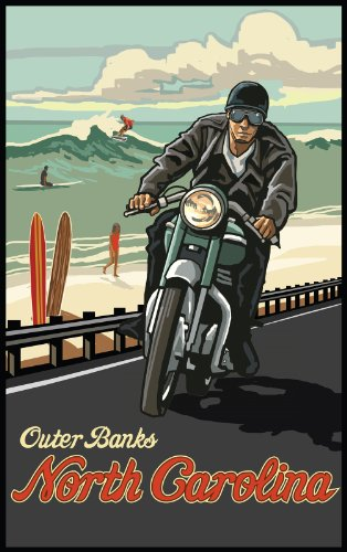 Northwest Art Mall Outer Banks Motorcycle North Carolina Wall Art By Paul A Lanquist  11 By 17 Inch
