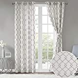 Comfort Spaces 2 Panel Curtains – Bridget Faux Linen Window Curtains 95 inch Length Grommet Top with Tie Backs – White/Grey Fretwork Embroidery Design