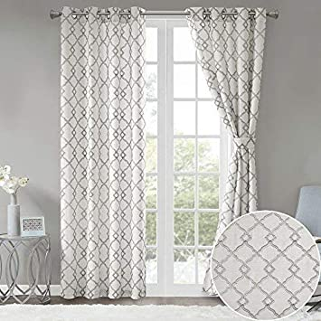 Comfort Spaces Bridget Faux Linen Fretwork Window Curtain Embroidery Design Grommet Top Panel Pair with Tie Backs, 50 x95 , Grey