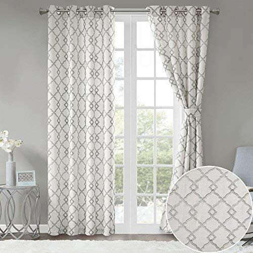 Comfort Spaces Bridget Faux Linen Fretwork Window Curtain Embroidery Design Grommet Top Panel Pair with Tie Backs, 50