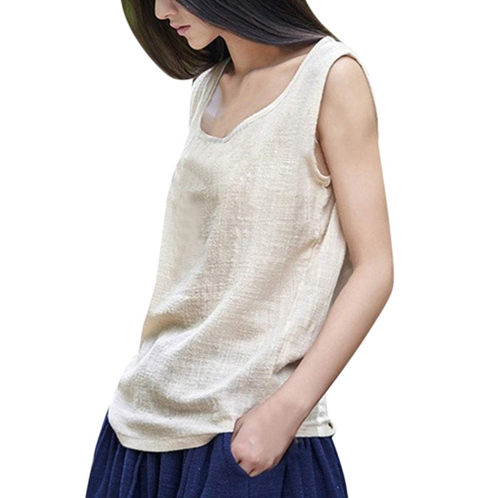 Tops for Women Vintage Sleeveless Linen Casual Loose Vests O-Neck Sleeveless Blouse (XXL, Beige)