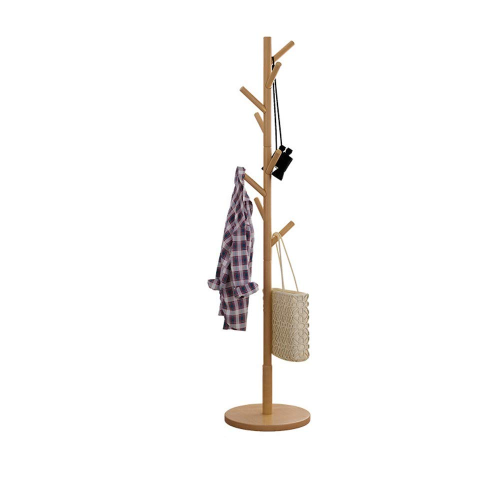 WONdere Solid Wood Coat Rack Hanger Floor Bedroom Multi-function Economy Rack Simple Standing Clothes Rack Home (A)