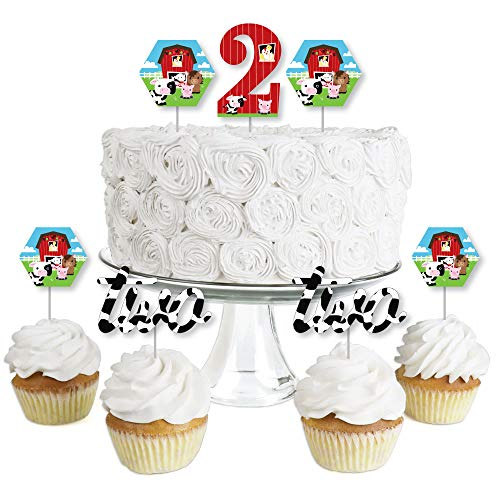 2nd Birthday Farm Animals - Dessert Cupcake Toppers - Barnyard Second Birthday Party Clear Treat Picks - Set of ()