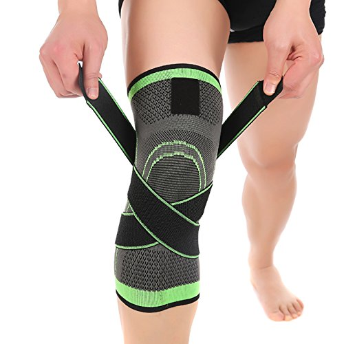 Geekercity 1 Pair / 2 Pcs Knee Pads, Non-Slip Compression Leg Knee Sleeve Protective Pad, Professional Bandage Ankle Wrist Knee Tennis Basketball Support, Adjustable Brace Kneepad (Green, XL)
