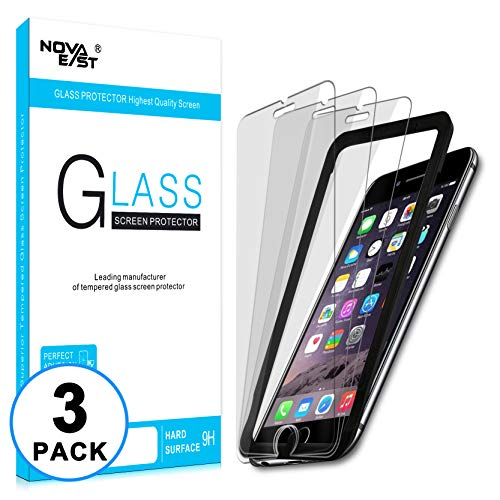 Novaeast Screen Protector for iPhone 8 Plus iPhone 7 Plus iPhone 6S Plus iPhone 6 Plus 5.5 Inch Tempered Glass Screen Protector with Easy Install Frame, Lifetime Replacement, 3-Pack