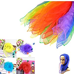 IDS 12pcs Square Juggling Silk Dance Scarves Magic Tricks Performance Props Accessories Movement Scarves,Random Color